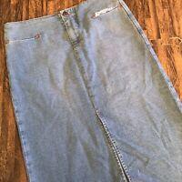 Joe's Jeans Skirt Sz 25 Pencil Stretch Blue Light Wash Slit Pockets Frayed Hem