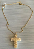 Cultured Pearl Cross Pendant & Gold Tone Chain Necklace