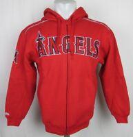 Los Angeles Angels Mens Red Embroidered  Thermal Hooded Sweatshirt Full Zip MLB