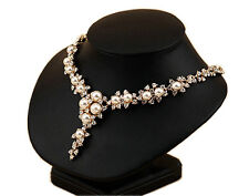 Luxury Vintage Style Flower Gold Ivory Pearls Cluster Chain Bridal Necklace N411