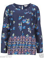 New Ex M&S Ladies Blue Floral 3/4 Sleeve Blouse Top Size 10 - 22