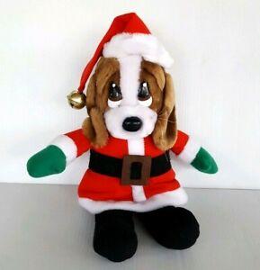 "Applause Sad Sam Dog Christmas Santa 12"" Plush Stuffed Animal Vintage"
