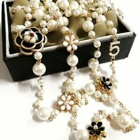 Long Simulated Pearl Necklace For Women No.5 Double Layer  Pendant Party Jewelry