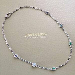 Judith Ripka Sterling Silver GENUINE Emerald, Sapphire & Topaz Necklace