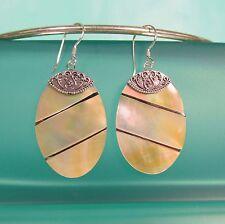 "1 1/2"" Mother of Pearl Oval Shell Handmade 925 Sterling Silver Dangle Earrings"
