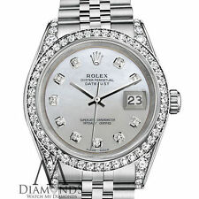 Ladies Steel Rolex Datejust 36mm White Mother Of Pearl Diamond SS Jubilee Watch