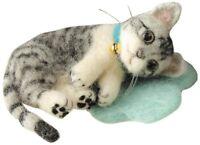Hamanaka H441-365 Felt Wool Mascot My Pet Silver Tabby Cat Kit Japan