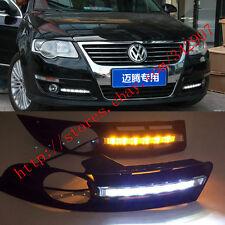 Exact Fit Switchback LED DRL Fog Lights w/ Turn Signals For VW Passat B6 2007-10