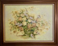 """R. Dougherty Still Life with Daisies in a Vintage  38"""" x 48"""" Ornate Wood Frame"""