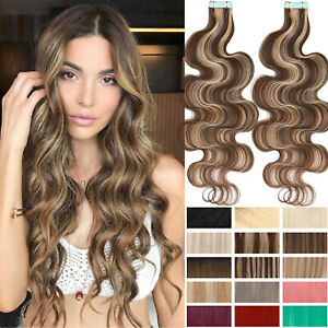Wavy Thick Tape In 100% Human Hair Extensions Skin Weft Full Head Remy Body wave