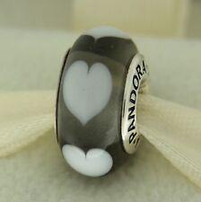 Authentic Pandora 790666 Gray Ice Love White Hearts Murano Glass Bead Charm