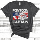 Pontoon Captain American Flag Boat Lake Boating Beer Gift Unisex T-Shirt For Men