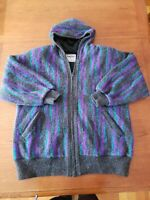 Vintage Tundra Men M Canadian 100% Virgin Wool Lined Sweater Jacket Hood Zipper