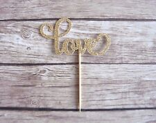 10x LOVE Cupcake Toppers - wedding, engagement, valentine's glitter decor