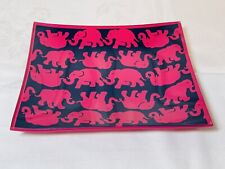 """Lilly Pulitzer Pink Blue Glass Catchall Trinket  Tray - """"Tusk In Sun"""" Elephants"""
