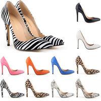 Sexy Womens snake leopard zebra Skin Pointed Toe High Heels Stilettos Pump Shoes