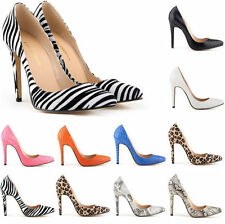 Stylish Womens Pointed Toe Animal Print Pumps Party Stilettos Court Shoes Size