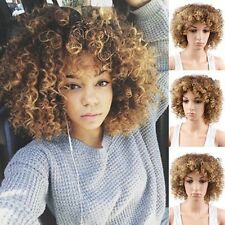 Kinky Curly Wigs for Black Women Cosplay Mix Color Ombre Blonde Afro Curly Wigs