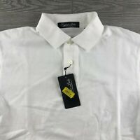 NWT Cypress Links Men's 100% Cotton Short Sleeve Solid White Polo Shirt -Small
