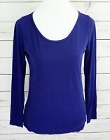 Ann Taylor Loft Top Womens Medium M Blue Solid Long Sleeve Cotton Stretch