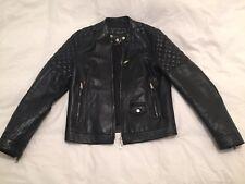 DSquared D2 Men's Leather Jacket Biker Black Medium 48