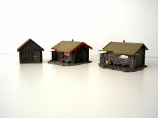 LOT 3 MAQUETTES MONTEES TYPE CABANE FORESTIERE - FALLER - ECHELLE HO