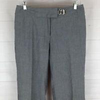 Worthington womens size 6 stretch gray striped mid rise bootcut dress pants EUC
