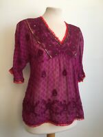 Monsoon Pink Fuchsia Embellished Sequin Bohemian Embroidered Hippy Top Size 10