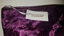 Stephanie Johnson Purple velvet Large Cosmetics makeup travel toiletries Bag
