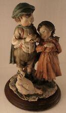 "Boy & Girl w/ Chickens Giuseppe Armani 11"" Figure w/ Wooden Base Capodimonte"