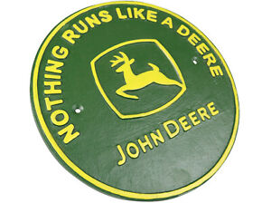 Nothing Runs Like a John Deere Tractor - Cast Iron Quote Sign Plaque
