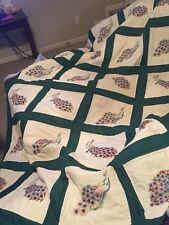 Circa 1940's-1950's Hand Embroidrered Peacock Quilt