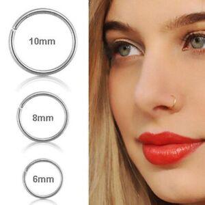 925 Sterling Silver Plain Classic Hoop Ring Earrings Lip Ear Nose Body Piercing