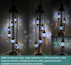 Beautiful 3/5/7 Blue Balls Turkish Moroccan Glass Light Floor/Table Lamp