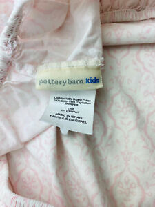 Pottery Barn Kids Organic Cotton Pink  Floral Medallion Crib Fitted Sheet