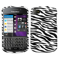 BlackBerry Q10 Snap-On Hard Case Cover White Zebra