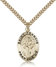 "Saint Francis Of Assisi Medal For Men - Gold Filled Necklace On 24"" Chain - 3..."