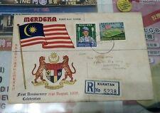 1958 Stamp FDC 1st Anniversary Merdeka Malaysia Malaya Flag design Kuantan Chop