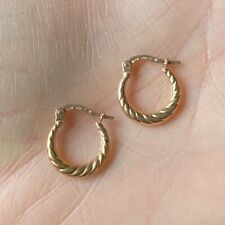 NEW 9ct Rose Gold Hoop Earrings Hallmarked Small Size 375 Made in Italy 9K 1.2cm
