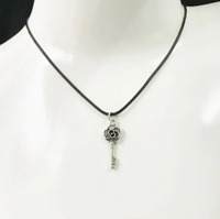 Key Necklace Black Rope Chain & Pendant Womens Mens Jewellery