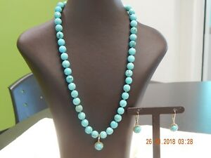 "20"" 10mm faceted turquoise necklace w/ 14k dangle & matching earrings, knotted"