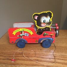 Vintage Fisher Price Teddy Trucker Pull Along Toy Bruin 711 Fun Nostalgia