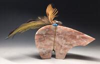 LARGE Native American Zuni Pueblo Bear Fetish Stone Carving Glyphic Incised