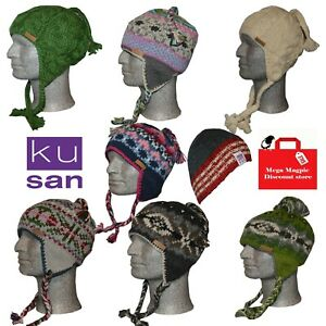 KuSan 100% Wool Beanie Bobble winter Ethical Nepal hats Various styles colours