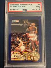 1992 Fleer Basketball Michael Jordan Team Leader PSA 9 Mint Chicago Bulls #4