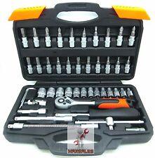 "46pc 1/4"" Dr Socket & Ratchet Wrench & Star Hex Torx Bits Set Sockets Flex Bar"