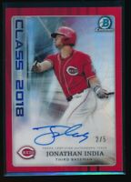 JONATHAN INDIA AUTO Class of 2018 1st Bowman Draft Chrome RED REFRACTOR #/5 RC