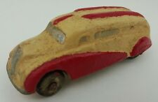 Vintage Sun Rubber Beige Red Hard Rubber Streamlined Art Deco Passenger Bus Toy