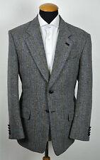 Harris Tweed Sakko gr 27 Grau Wolle Fischgrät Karo Jacket Blazer size 44S B05