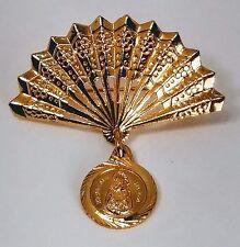 "Vintage Spain Gold Tone Fan Brooch engraved "" Nuestra sra del pino"""